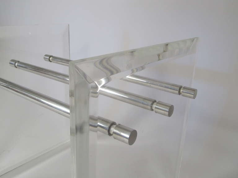 Pair of Lucite Aluminum and Glass End Tables 6