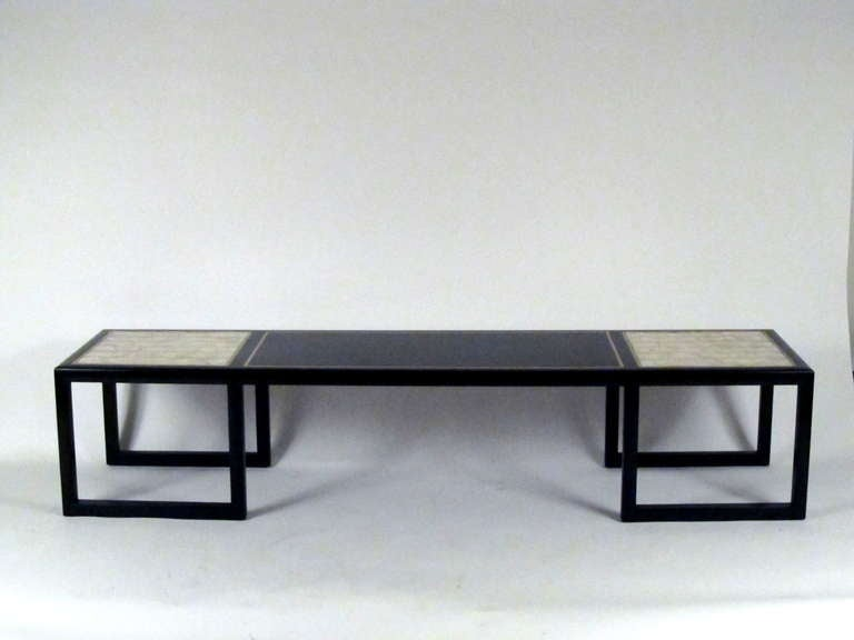 Baker Regency Style Black Lacquer and Capiz Coffee Table