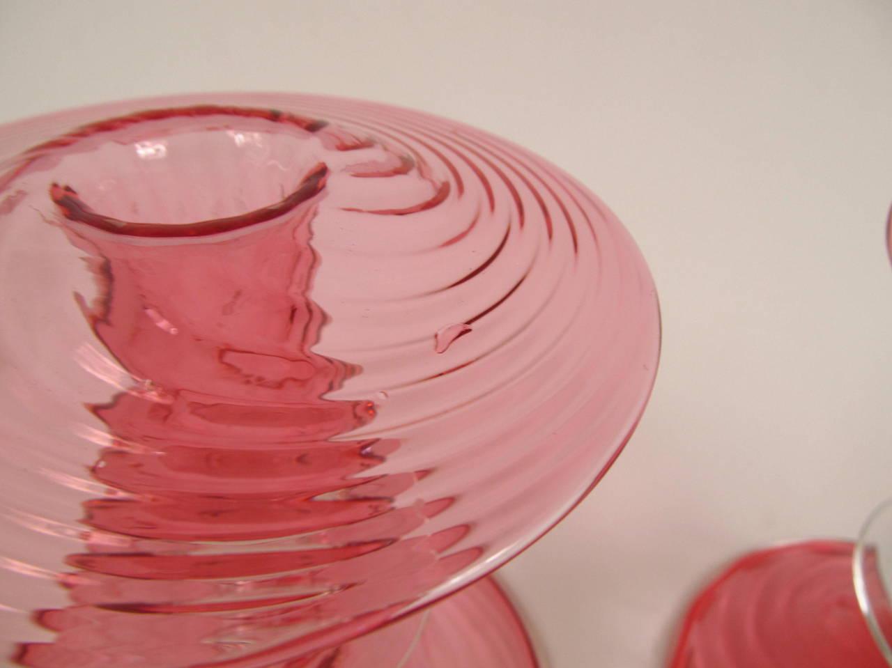 Pair of Steuben Cranberry Glass Candlesticks 6