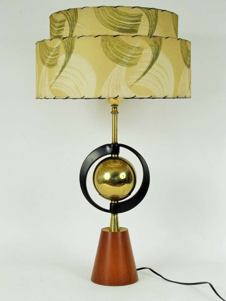 Atomic style 1950s table lamp with double decker lampshade at atomic style 1950s table lamp with double decker geotapseo Gallery