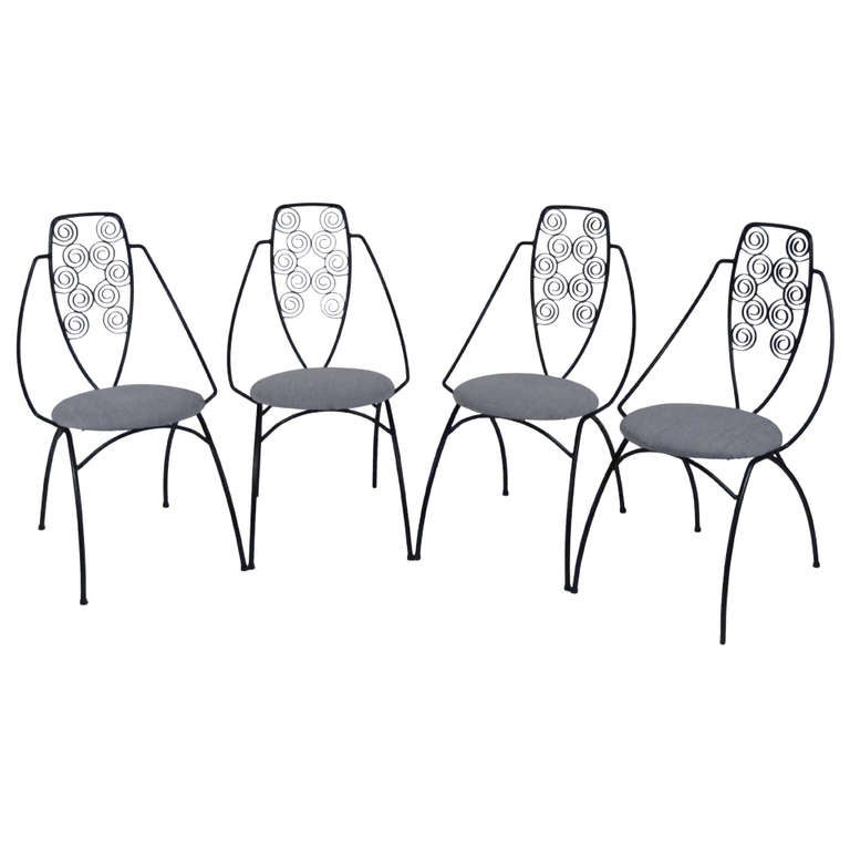 set of four art deco wrought iron patio chairs for sale at 1stdibs