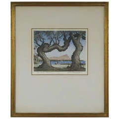 "Leon Rene Pescheret Aquatint  of Diamond Head Titled ""Hau Trees, Honolulu"""