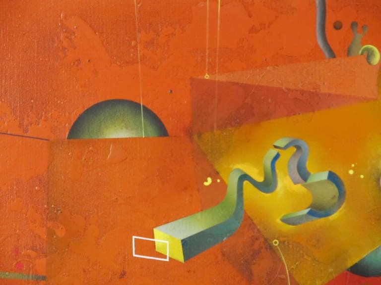 """Composition in Orange"" 1977 Oil on Canvas by Yankel Ginzburg 3"
