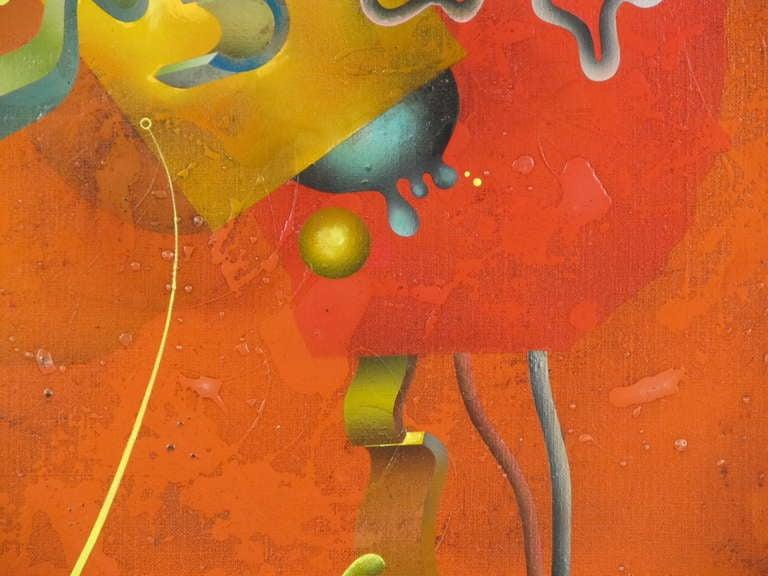 """Composition in Orange"" 1977 Oil on Canvas by Yankel Ginzburg 5"