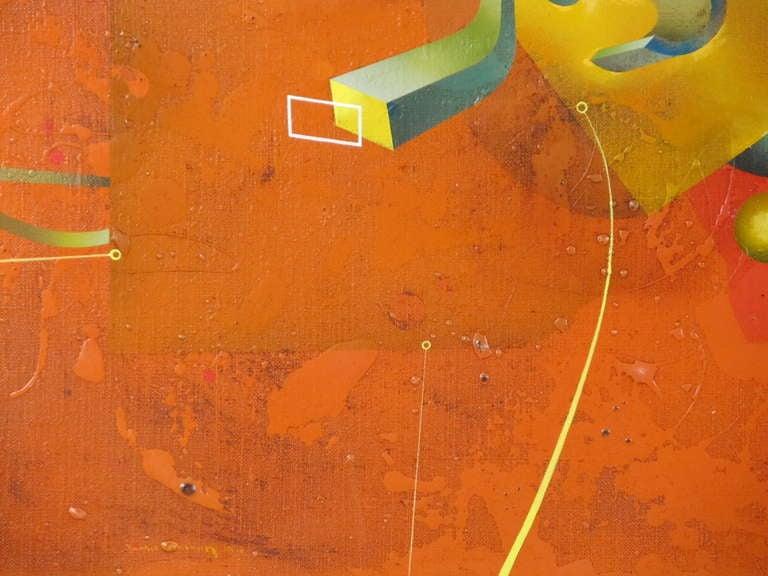 """Composition in Orange"" 1977 Oil on Canvas by Yankel Ginzburg 6"