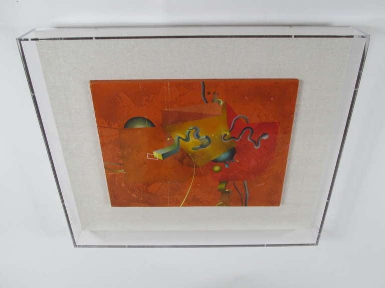 """Composition in Orange"" 1977 Oil on Canvas by Yankel Ginzburg 9"