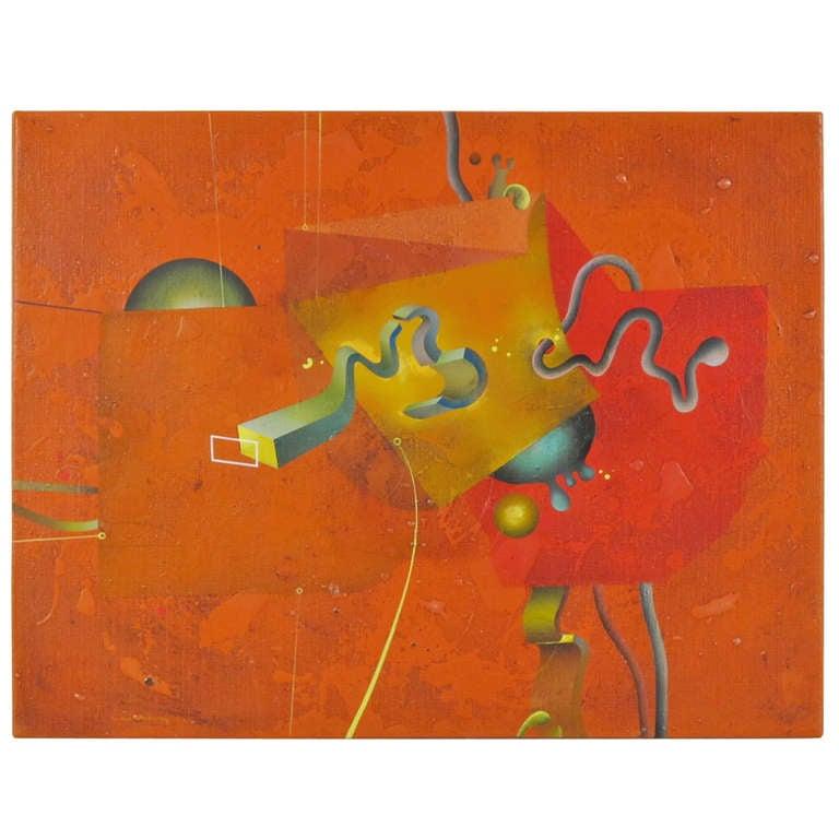 """Composition in Orange"" 1977 Oil on Canvas by Yankel Ginzburg 1"