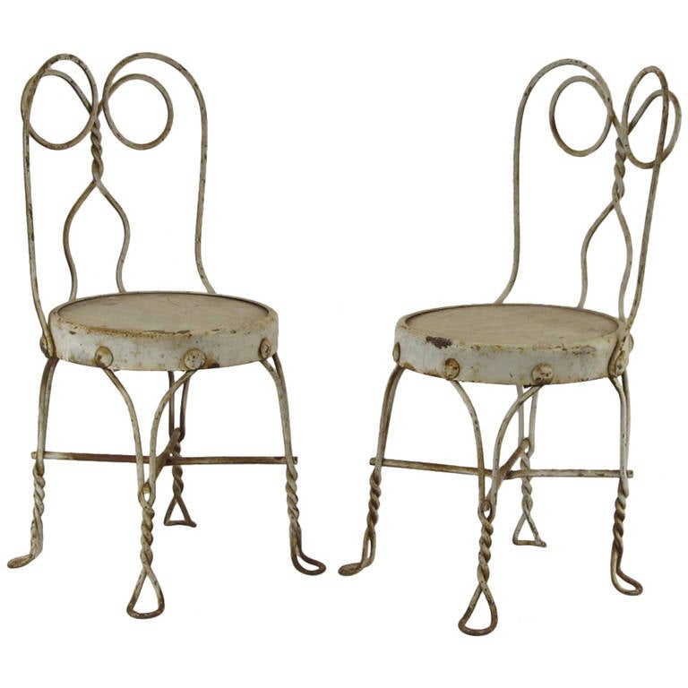Pair Of Antique Children S Ice Cream Parlor Chairs At 1stdibs