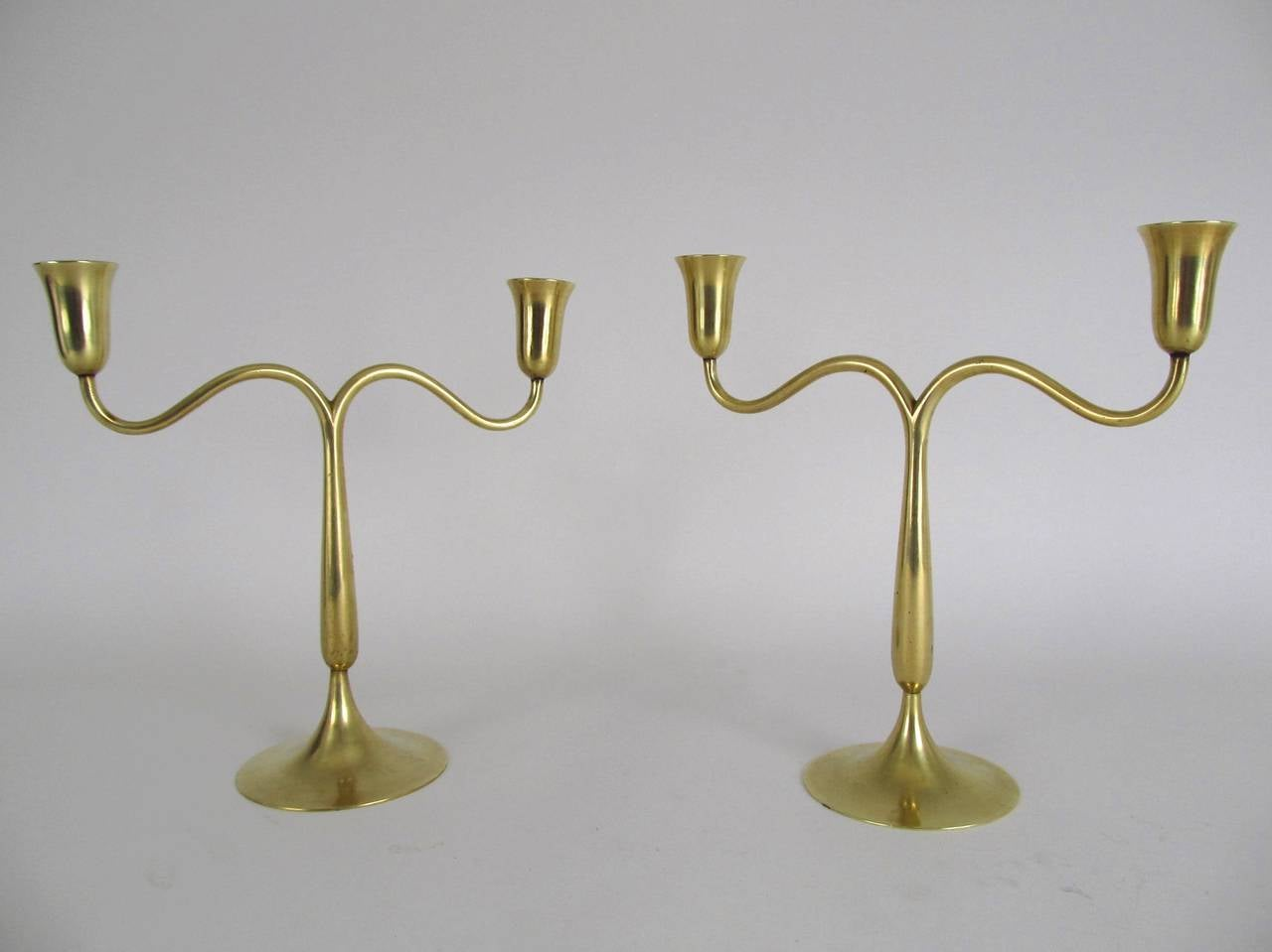 Pair of Signed Hagenauer Brass Candlesticks 2