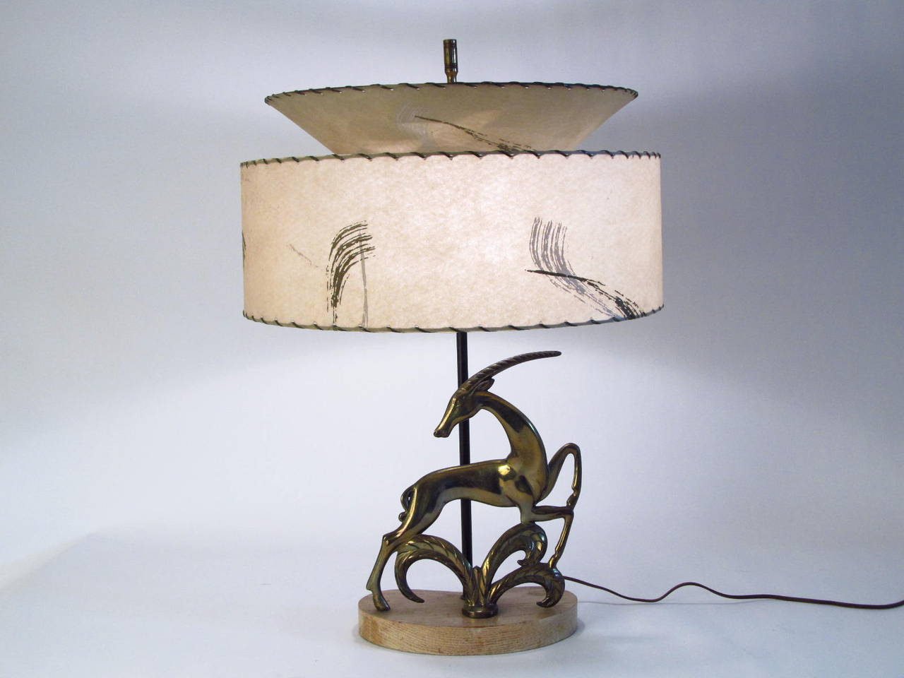 1940s Brass Gazelle Table Lamp With Period Parchment Shade