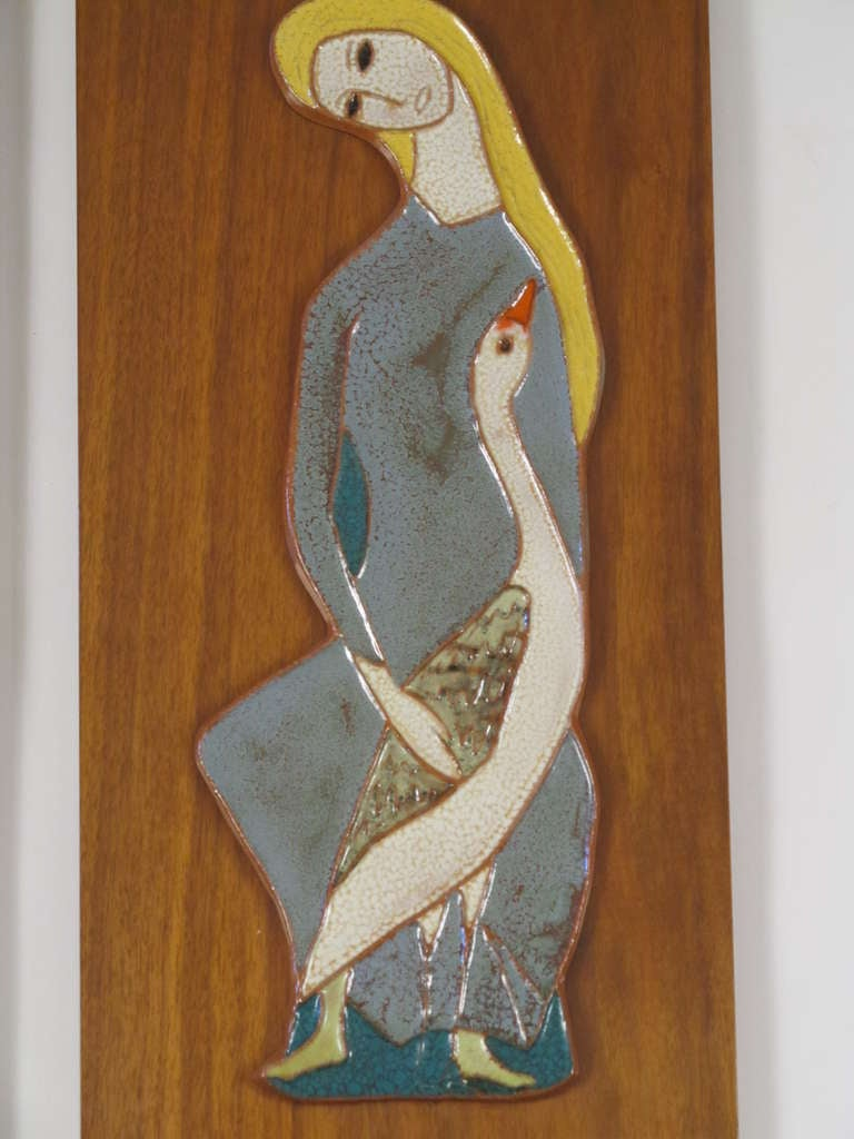 Pair Of Mythic Harris Strong Ceramic Wall Plaques At 1stdibs