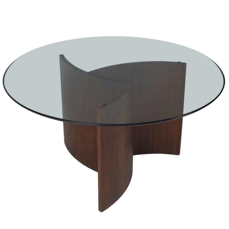 Lane Furniture Walnut And Glass Pinwheel Coffee Table At 1stdibs