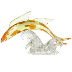 Salviati Murano Glass Spotted Koi Sculpture