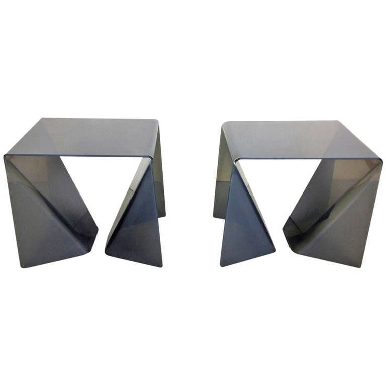 Pair Of Lucite Quot Origami Quot End Or Side Tables By Neal Small