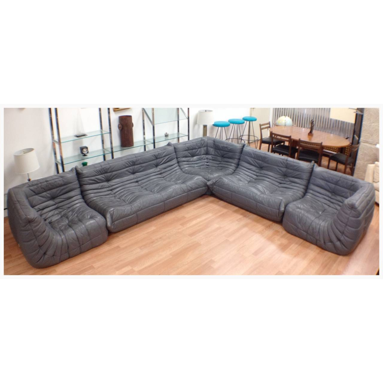 exceptional five piece gray leather ligne roset togo sofa. Black Bedroom Furniture Sets. Home Design Ideas