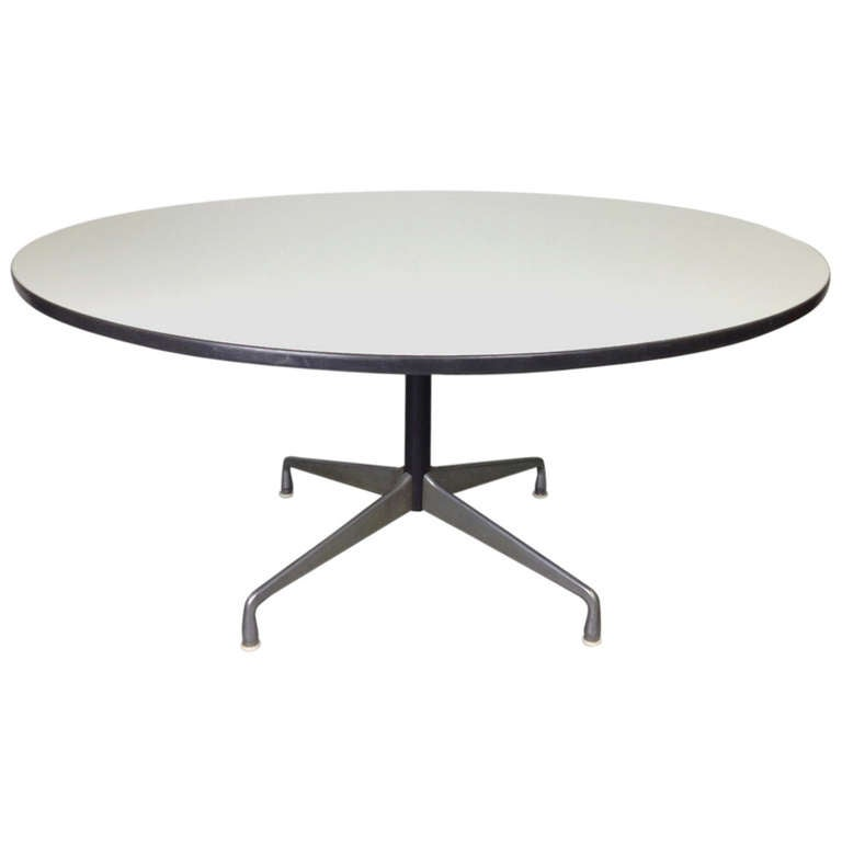 charles eames herman miller aluminum group round conference dining table with white laminate top. Black Bedroom Furniture Sets. Home Design Ideas