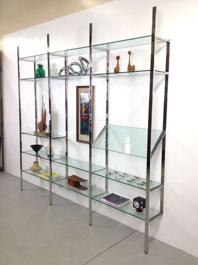 3 Section Flat Bar Chrome and Glass Wall Unit by Milo Baughman for Thayer Coggin image 2