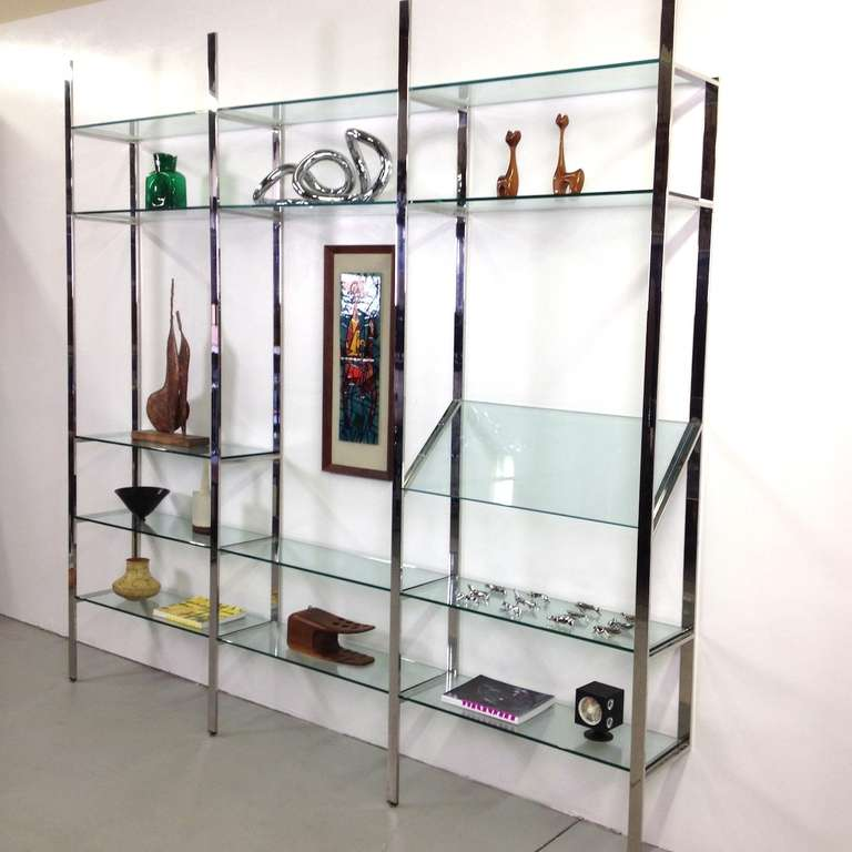 3 Section Flat Bar Chrome and Glass Wall Unit by Milo Baughman for Thayer Coggin image 3