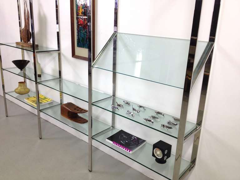 3 Section Flat Bar Chrome and Glass Wall Unit by Milo Baughman for Thayer Coggin image 4
