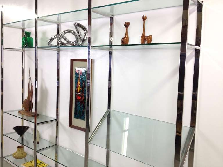 3 Section Flat Bar Chrome and Glass Wall Unit by Milo Baughman for Thayer Coggin image 5