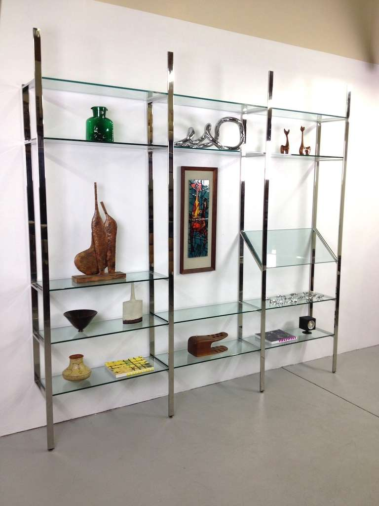 3 Section Flat Bar Chrome and Glass Wall Unit by Milo Baughman for Thayer Coggin image 6