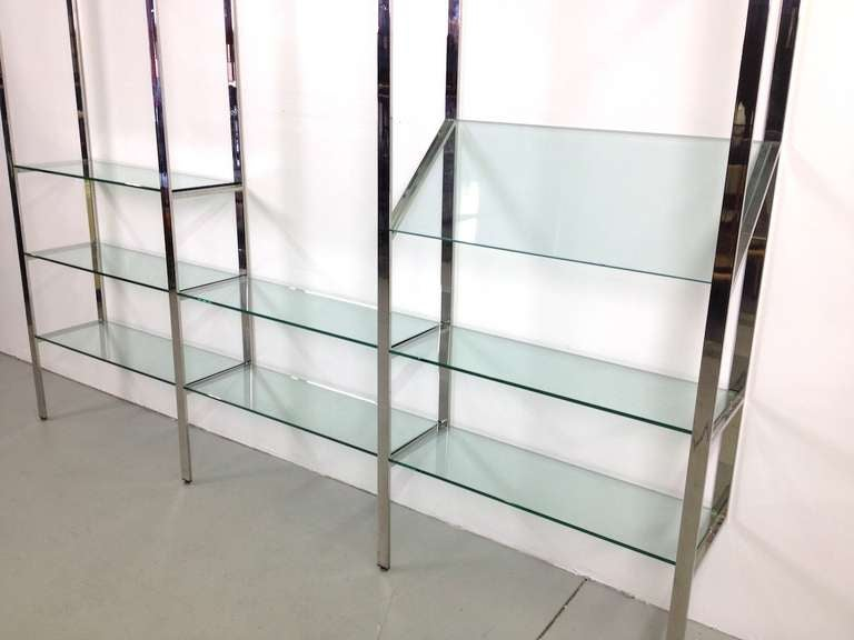 3 Section Flat Bar Chrome and Glass Wall Unit by Milo Baughman for Thayer Coggin image 7