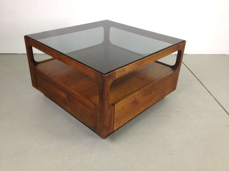 Pair Brown Saltman Walnut And Smoked Glass End Tables W