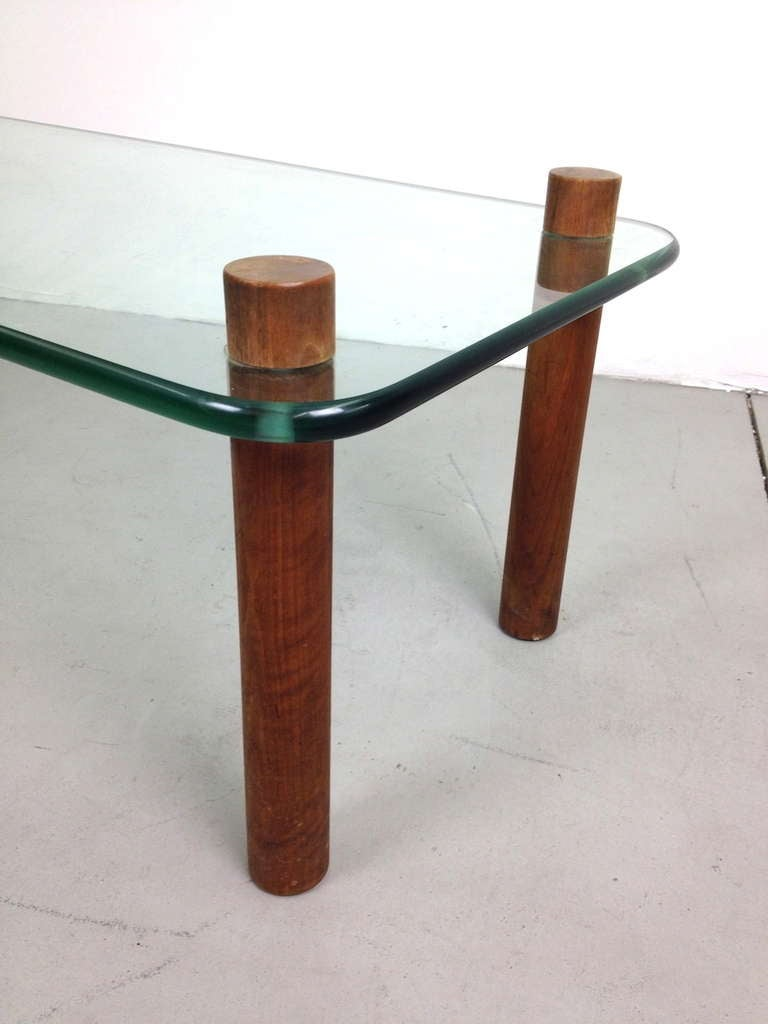 Wood and glass cocktail coffee table at 1stdibs for Wood and glass cocktail tables