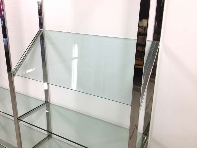 3 Section Flat Bar Chrome and Glass Wall Unit by Milo Baughman for Thayer Coggin image 8