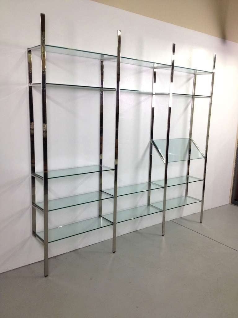 3 Section Flat Bar Chrome and Glass Wall Unit by Milo Baughman for Thayer Coggin image 9