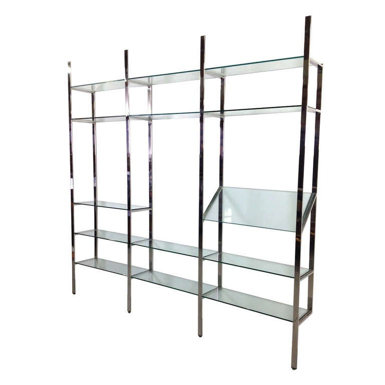 3 Section Flat Bar Chrome and Glass Wall Unit by Milo Baughman for Thayer Coggin