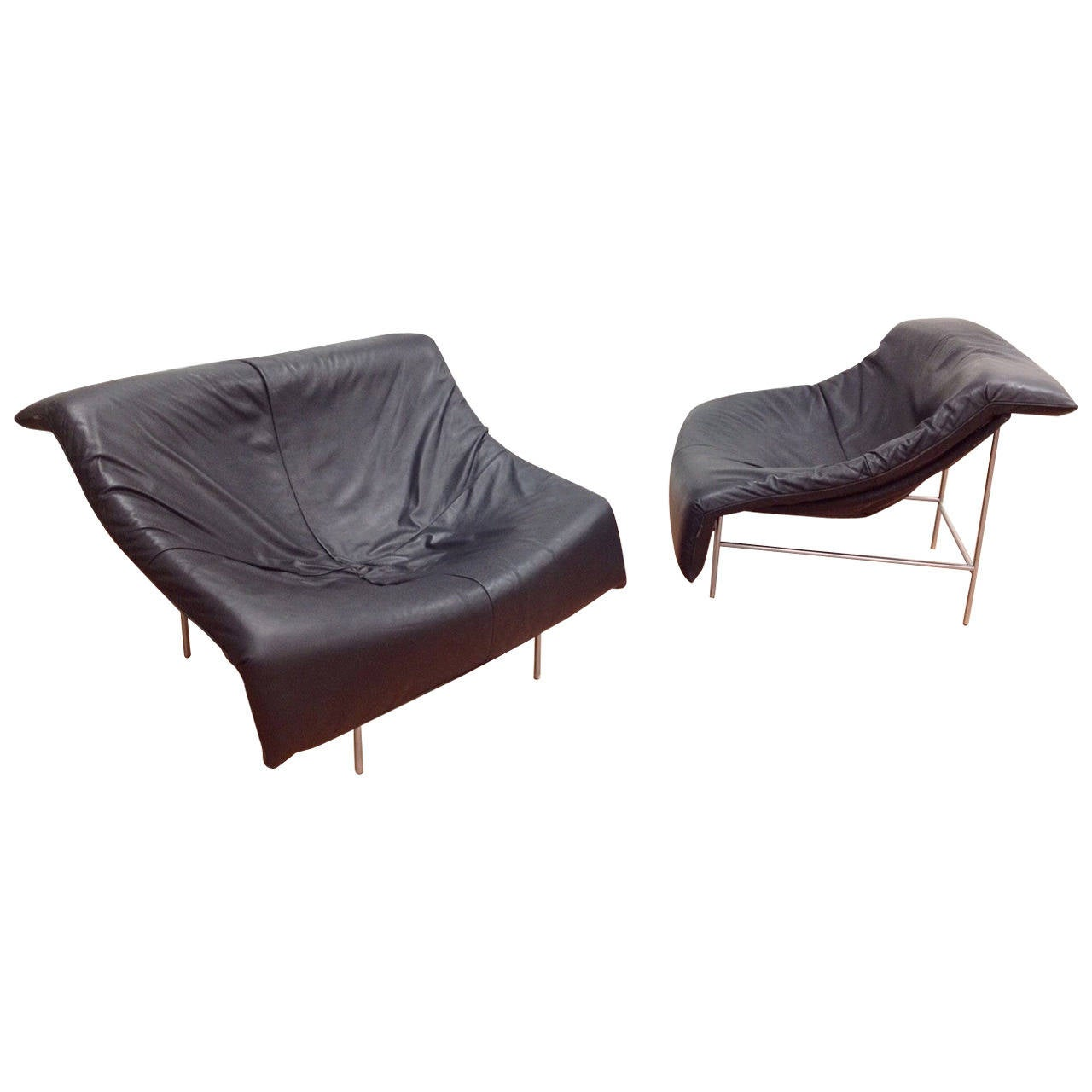 Rare Pair of Montis Leather Butterfly Lounge Chairs by Gerard Van Den Berg at