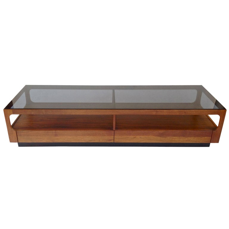 Walnut And Smoked Glass Coffee Table W Drawers By John Keal For Brown Saltman At 1stdibs