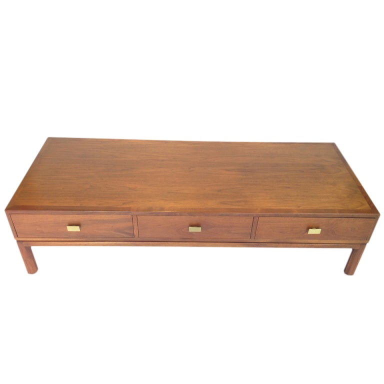 Danish Modern Walnut Coffee Table With Drawers For Storage By Motif At 1stdibs
