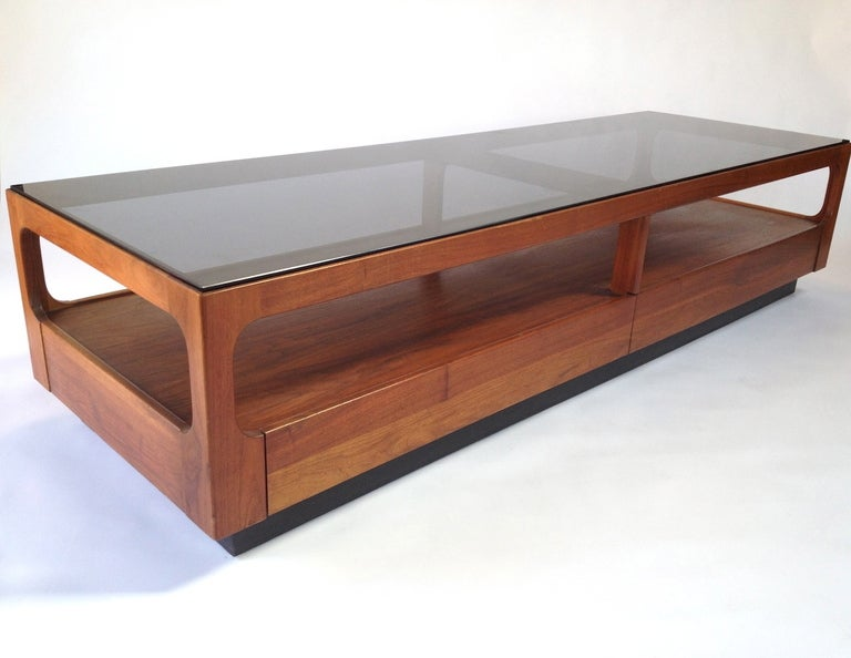 Walnut And Smoked Glass Coffee Table W Drawers By John