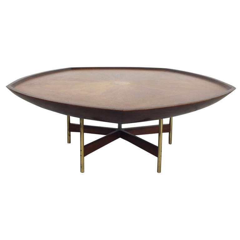 Outstanding pentagon coffee cocktail table by paul tuttle for baker furniture at 1stdibs Baker coffee table