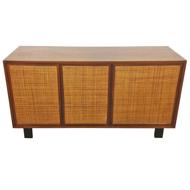George Nelson Walnut Cane Front Credenza By Herman Miller