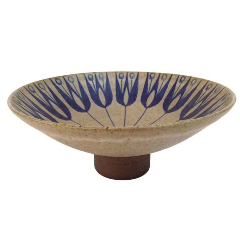 Beautiful Vintage Danish Modern Ceramic Footed Bowl At 1stdibs