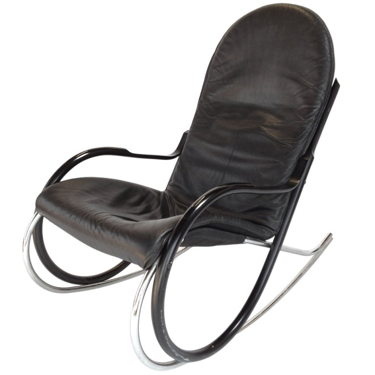 Paul Tuttle Quot Nonna Quot Chrome And Leather Rocking Chair By