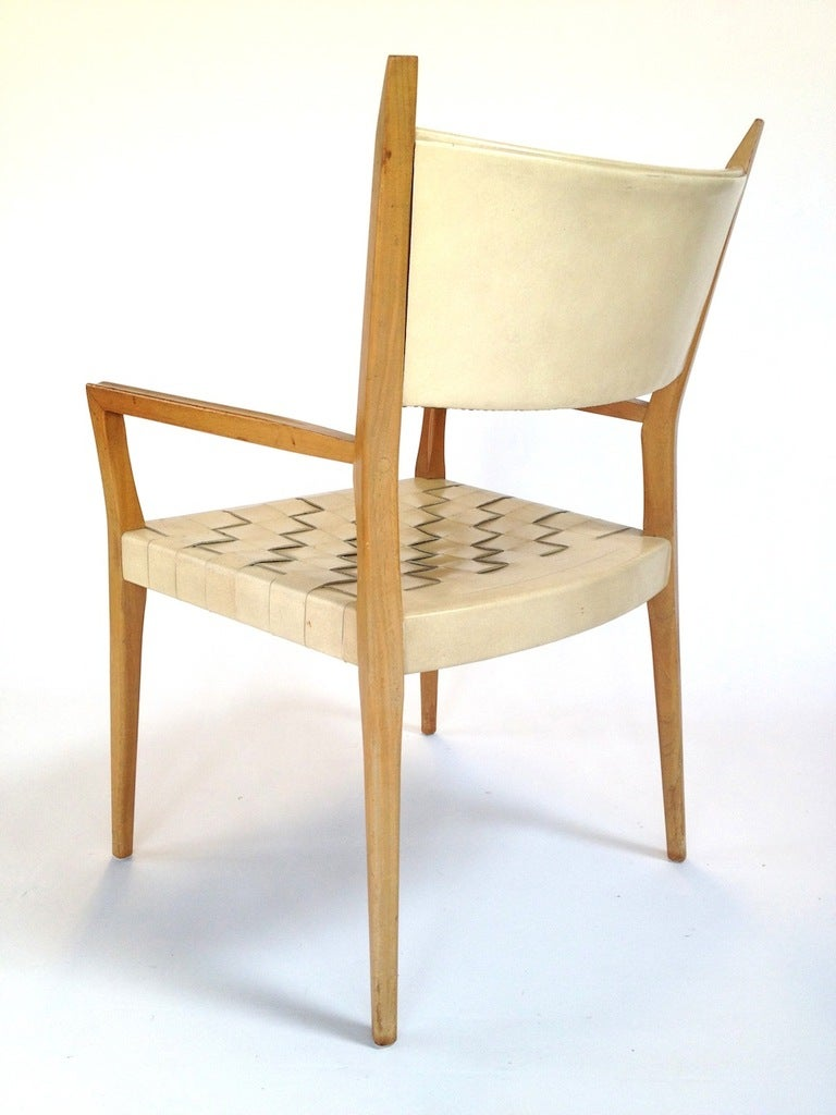 Set of 6 Paul McCobb Woven Leather Dining Chairs at 1stdibs