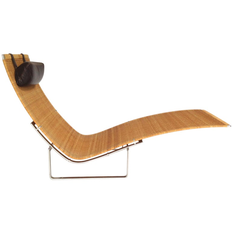 Vintage poul kjaerholm pk24 chaise longue lounge chair at for Antique chaise lounge prices