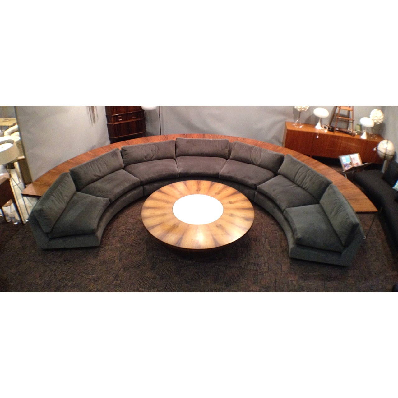 Complete Milo Baughman Thayer Coggin Half Circle Sectional Sofa And Table Set At 1stdibs