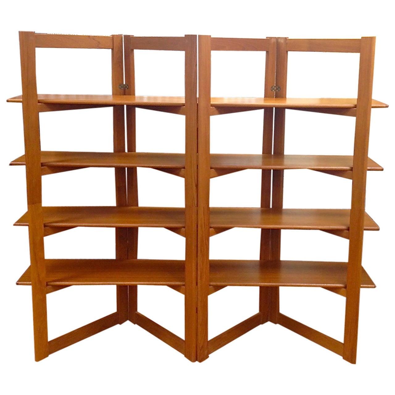 Danish Modern Teak Freestanding Room Divider Bookshelf At