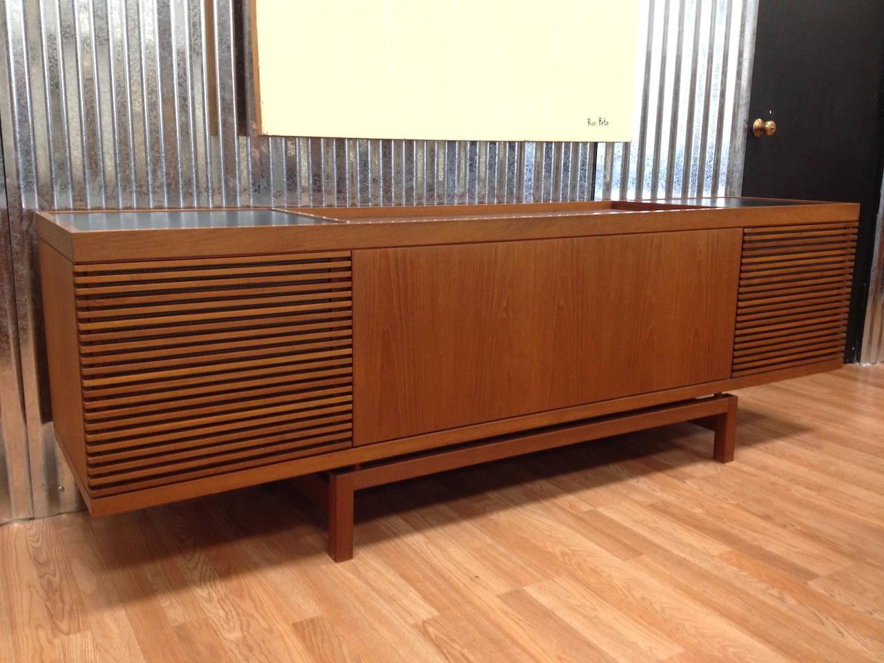 Slatted Room Divider Vintage Danish Modern Teak Stereo Media Cabinet Credenza