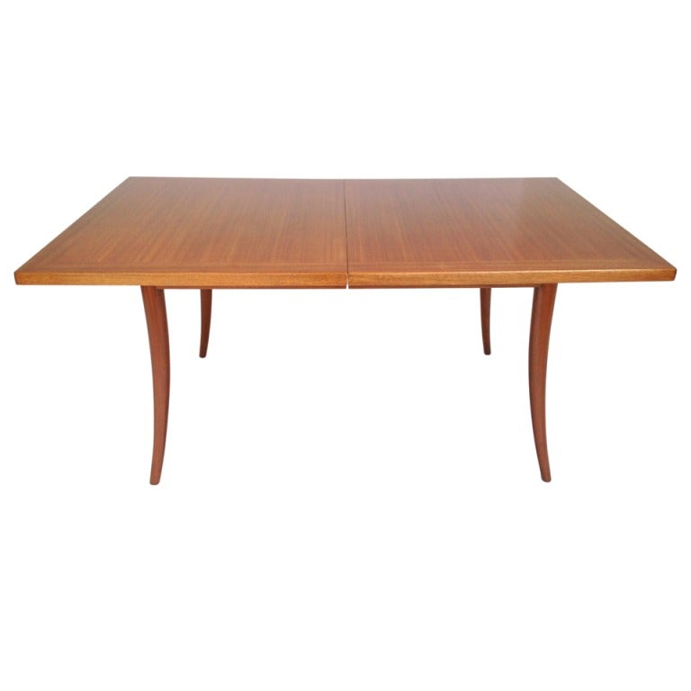 Harvey probber sabre leg dining table w 2 leaves at 1stdibs for Dining room table 2 leaves