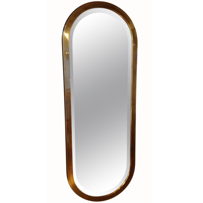 Large brass oval shaped wall mirror at 1stdibs for Large long wall mirrors