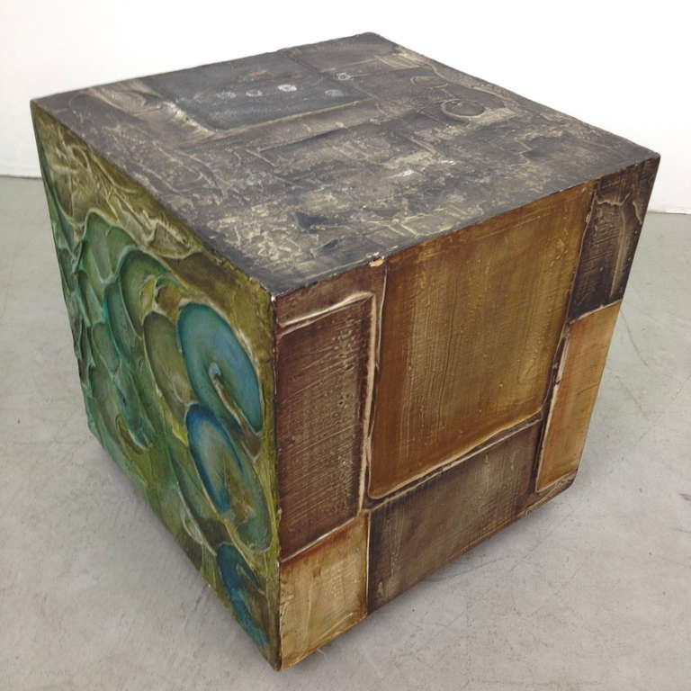 Unique vintage hand painted cube side table at 1stdibs for Unique side tables