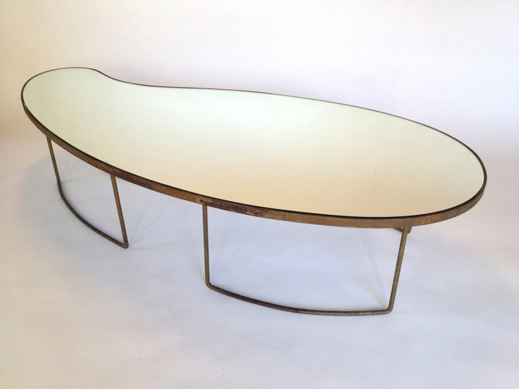 Kidney Shaped Gilt Coffee Table In The Manner Of Jean Royere At 1stdibs