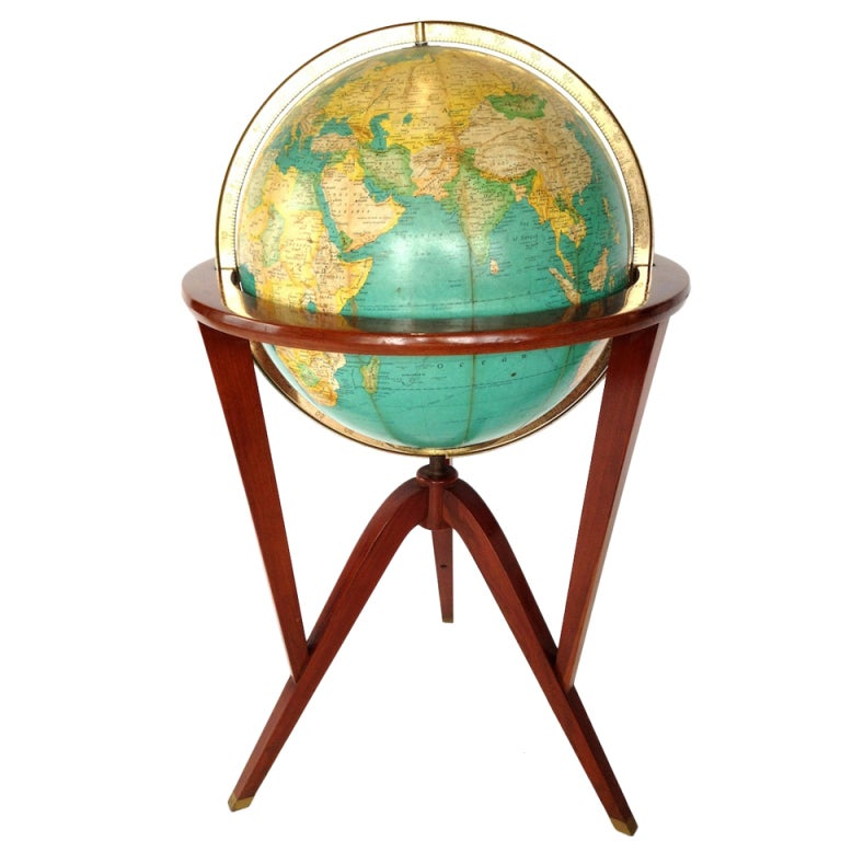 Dunbar Illuminated Floor Globe By Edward Wormley At 1stdibs