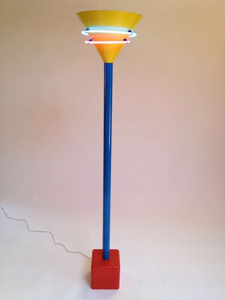 Vintage Memphis Style Halogen And Neon Floor Lamp At 1stdibs